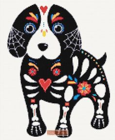 Kit contains: Cross stitch pattern Fabric - see options available Threads pre-wound on plastic card bobbins Needle Instructions Embroidery Motifs, Cross Stitch Embroidery, Cross Stitch Kits, Cross Stitch Patterns, Dog Skull, Gothic Crosses, Sugar Skull, Fabric Patterns, Black And White