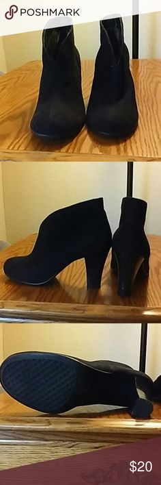 Black Booties Almost NEW worn a few times One spot on heel probably could be taken off Black Booties Slip on No zippers Size 8 Shoes Ankle Boots & Booties