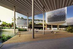 Galeria da Arquitetura | Complexo Multiuso - Os espelhos d'água têm a função de refletir a luz natural para dentro do edifício e auxiliar no controle térmico e de umidade, por meio da evaporação