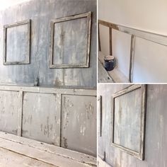 Before and after. My chippy wall with wood moulding and layer painting
