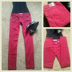 """Red Paris Blues Skinny Jeans X-long Paris Blues Skinny Jeans.  In good condition,  no holes, stains or wear marks.   The red is a little darker than the pics show.  They do have some streatch and have not been worn alot, maybe 5 times tops.    7 1/2"""" front rise 37"""" Inseam Paris Blues Jeans Skinny"""