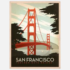 I liked this design on #Fab. SF Golden Gate 18x24