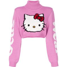 Gcds Hello Kitty jumper (1 325 PLN) ❤ liked on Polyvore featuring tops, sweaters, white sweater, pink top, jumpers sweaters, gcds and hello kitty sweater
