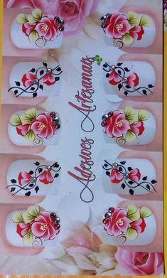 Adesivo unhas Finger Nail Art, One Stroke Painting, Nail Art Stickers, Nail Designs, Nail Polish, Nails, Creative, Flowers, Nail Stickers