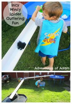 Can you get the spider to go down the guttering? Incy Wincy Spider Guttering Fun | http://adventuresofadam.co.uk/incy-wincy-spider-guttering-fun/