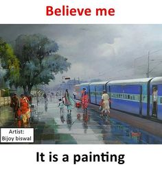 Beautiful painting on canvas using acrylic colors by Artist Bijay Biswal. See the wetness on the platform. Pl enlarge and see ! Indian Art Paintings, Amazing Paintings, Amazing Art, Incredible India, Amazing Nature, Awesome, Om Namah Shivaya, Amazing Photography, Nature Photography
