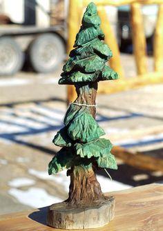 Árbol de pino tallado por woodZwayz en Etsy