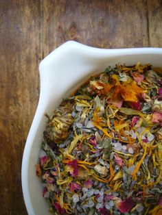 Postpartum herbal bath.  Dead sea salts, epsom salt, comfrey, plantain, calendula, rose and lavender