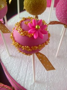 Pink and Gold cake pops and cupcakes for Ladies Night Out theme