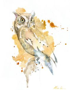 Screech Owl Giclee Watercolor Print by WildPaintings on Etsy $30.00