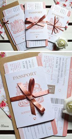 Rose Gold Passport Wedding Invitations Rose Gold is so gorgeous at a wedding, Why not set the scene if this is your colour scheme with our travel themed Passport Wedding invitations with 3 sided insert for all your guests' info,… Continue reading → Passport Wedding Invitations, Wedding Invitation Samples, Diy Invitations, Invitation Ideas, Wedding Invitations Ribbon, Abroad Wedding Invites, Ticket Invitation, Wedding Abroad, Invitation Design