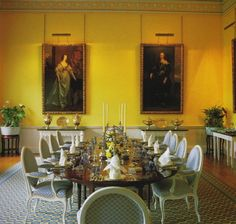 David Hicks enlivened the dining room of an English country house, Broadlands, with brightly painted yellow walls. From David HIcks: Living With Design. Yellow Dining Room, Dining Rooms, Dining Chairs, David Hicks, Yellow Walls, Yellow Rooms, Yellow Interior, Beautiful Interiors, French Interiors