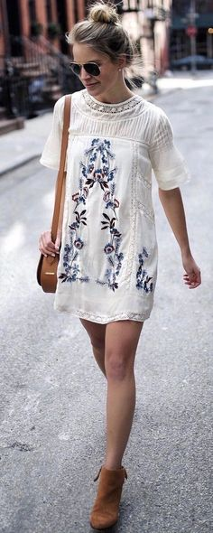 >> Street Fashion Trend 2018 ⭐️⭐️⭐️⭐️⭐️ A Floral Embroidery Dress now available at Pasaboho. This white dress exhibit brilliant design with gorgeous embroidered flower patterns. Suitable for a casual day outfit. Casual summer dress featuring high street fashion nova fashion outfit inspiration. #Pasaboho
