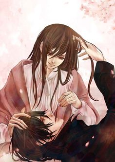 "Vampire Knight. Yuki and Kaname ^-^ Could hardly stop watching the anime, it was always ""just one more episode."""