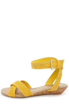 Bamboo Dalinda 15 Yellow Woven Wedge Sandals - Got in the SS and I can't find on Modcloth  Brand New Size 10 fit true to size I just don't look good in yellow :-{