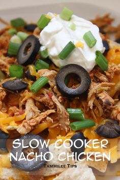 This Slow Cooker Nacho Chicken Recipe is absolutely delicious!  The crock pot does all the work and you get an easy dinner recipe! Plus you can add this to casserole, Mexican, soup or dip recipes easily! Family dinners will be so easy with this recipe!