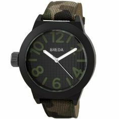 Breda Men's 8137_camo Jaxon Think Bold Bezel Watch Breda. $19.99. Camoflauge canvas band; buckle; not suggested for shower or water use. Highest standard quartz movement. Water-resistant - not recommended to take into deep water or shower. Thick black bezel; oversized hour and minute hands. Large black dial with oversized green arabic numerals. Save 56% Off!