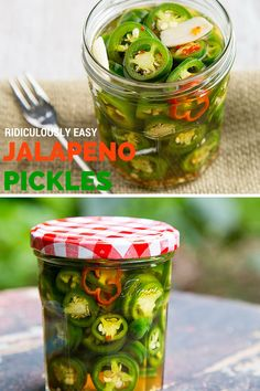 Ridiculously Easy Jalapeño Pickles is part of Ridiculously Easy Jalapeno Pickles Fatfree Vegan Kitchen - It only takes a few minutes to preserve your jalapeño pepper harvest with this easy, sugarfree recipe for refrigerator pickles Pickled Jalapeno Recipe, Pickles Recipe, Pickled Garlic, Homemade Pickles, Pickling Jalapenos, Pickeled Jalapenos, Pickling Peppers, Pickling Vegetables, Canning Jalapeno Peppers