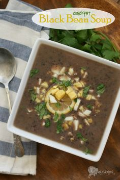 Crockpot Black Bean Soup ~ Warm and hearty for a cold day! ~ from GirliChef