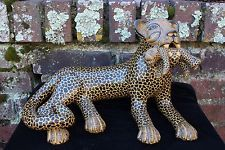 Mom Jaguar & Baby Pottery Hand Made Mayan Chiapas Mexico Folk Art Tribal Panther