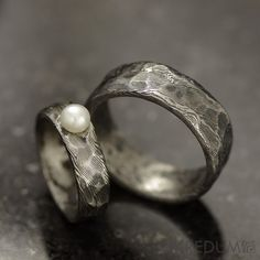 """Rustic Wedding Ring, Engagement ring - Custom Stainless Damascus steel, womens ring, ring for her - """"Natura with a pearl"""""""