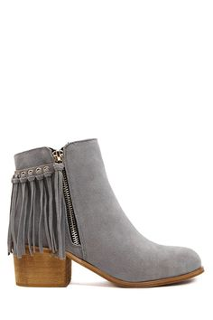 Boho Grey Suede Ankle Boots