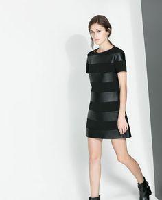 ZARA - WOMAN - COMBINED STRIPED DRESS leather stripes trend combo