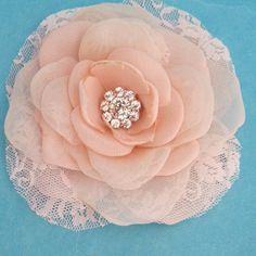 Blush Pink Lace, Organza and Chiffon Rose Hair Clip  E302- bridal hair accessory. $40.00, via Etsy.