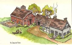 I like the idea of things being connected, barn (four stalls), garage/work room, house, and then finally the green house on the end. New England Farmhouse, Paper Structure, Farm Layout, Farm Activities, New England Style, Earth Homes, Henry Ford, Paper Houses, Little Houses