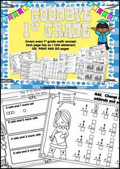 Goodbye First Grade 1st Grade Math Print and Go