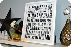 PBJstories: DIY Subway Art ... {Minneapolis Style} - using canvas board and a frame