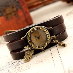 2014 NEW free shipping fashion women dress watches of brands Vintage genuine leather flower quartz wristwatches $5.84