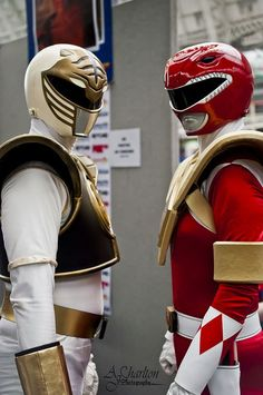 White Ranger & Red Ranger with dragon shield