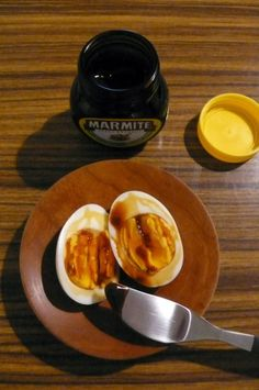 Egg & Marmite. Love eggs, love marmite, love marmite soldiers on toast dipped in soft boiled egg. must try this!