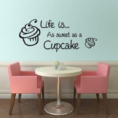 Cupcake Kitchen Art Wall Quote Sticker Decal 24 Colours Available (Black) Ready to apply with application tape included Measures x Also Includes fitting instructions Manufactured from 7 year vinyl