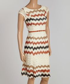 Loving this Sharagano Ivory & Taupe Texture Belted Cap-Sleeve Dress on #zulily! #zulilyfinds
