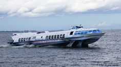 a hydrofoil on its way to Peterhof Palace in St. Petersburg, Russia