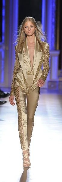 Zuhair Murad ~ luv the cut and design of this pantsuit but as much as i luv gold maybe in a slightly more subtle color for this