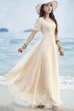 Fashion Elegant Pearl Lace Design Pure Color Maxi Dress Maximum Style