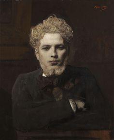 Jean-Joseph Benjamin-Constant (1845-1902)  Portrait de jeune homme barbu dit L'Albinos
