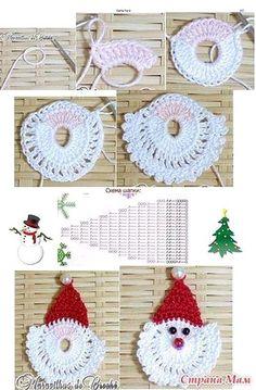 Trendy Ideas For Crochet Christmas Santa Papa Noel Crochet Christmas Decorations, Crochet Ornaments, Christmas Crochet Patterns, Holiday Crochet, Crochet Snowflakes, Christmas Knitting, Crochet Crafts, Yarn Crafts, Crochet Projects