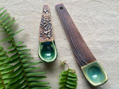 Ceramic Hand Built Spice Spoons Set of 2 by persimmonstreet