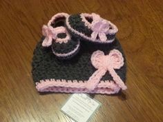 ADORABLE!!!!!! Cute baby girl with bow set only $19.99 https://www.etsy.com/listing/178861092/baby-girl-hat-and-bootie-set-with