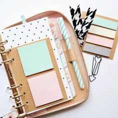 I cut down the Target one spot planner accessory pack to fit in my Kate Spade planner. Punched a couple more holes and voila, the perfect sticky notes to match my dividers.