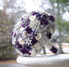 Purple Brooch Bouquet   Majestic Purple Wedding Brooch Bouquet. Deposit on made to order ...