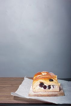 Blueberry & mulberry milk-loaf with ricotta cream by csokiparany, via Flickr