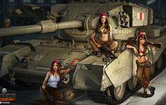 Photo wallpaper Nikita Bolyakov, art, average, hangar, World of Tanks, figure, tank, FV-4202, girls, British, the crew