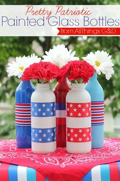Patriotic Painted Glass Bottles
