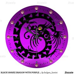 BLACK SNAKE DRAGON WITH PURPLE PINK GEMSTONES WALL CLOCKS