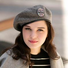6521c83835c37 Casual gray beret hat with badge for women winter felt hats